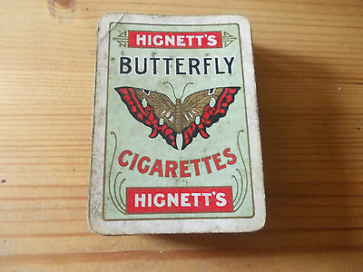 Old wide Hignetts Butterfly Cigarettes. Near-complete pack of cards