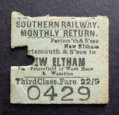 Southern Railway - Severed Half Ticket - Portsmouth & Southsea to New Eltham