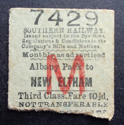 Southern Railway - Severed Half Ticket - Albany Park to New Eltham