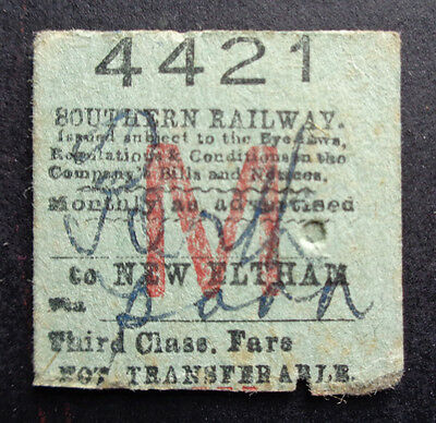 Southern Railway - Severed Half Ticket - Porth (Wales?) to New Eltham