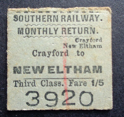 Southern Railway - Severed Half Ticket - Crayford to New Eltham - 1950