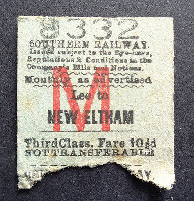 Southern Railway - Severed Half Ticket - Lee to New Eltham