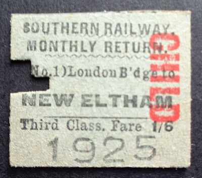 Southern Railway - Severed Half Ticket - London Bridge to New Eltham - 1950