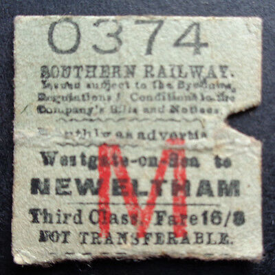 Southern Railway - Severed Half Ticket - Westgate-on-Sea to New Eltham
