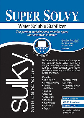 Sulky Super Solvy 19-1/2 by 36-Inch Water Soluble Fabric Stabilizer, Medium