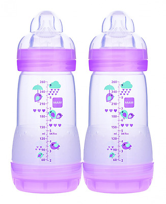 MAM Anti-Colic Bottle, Girl, 9-Ounce, 0 Plus Months, 2-Count, (For Girl)