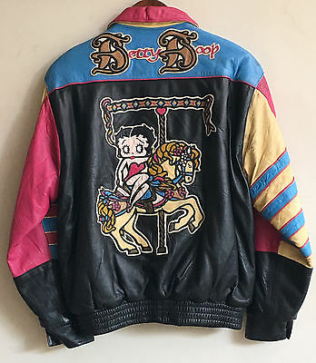 RARE vintage JEFF HAMILTON - BETTY BOOP FULL LEATHER collection JACKET unisex