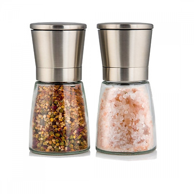 YouLike Stainless Steel Pepper Mill and Salt Mill Ceramic Grinder Set of 2 with
