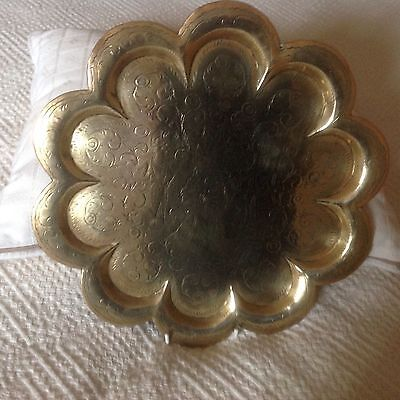 Antique Hammered Hand Engraved Indian Brass Tray 28cms