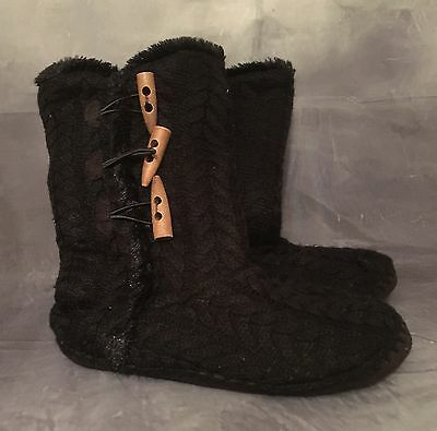 Womens Winter Knitted Black Slipper Boots UK 5