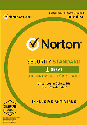 NORTON (Internet) SECURITY Standard (2020) 1-Gerät / 1-Jahr PC/Mac/Android / KEY