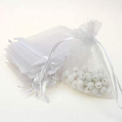 25Pcs Organza Wedding Party Favor Gift Candy Bag Packing 7X9cm(White)