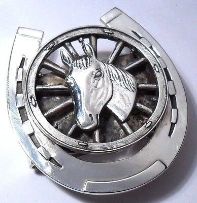 M co D HORSESHOE HORSE MONEY CLIP STERLING SILVER 925 EQUESTRIAN CARRIAGE WHEEL