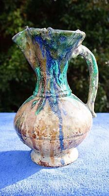 Good Antique Hispanic, Moresque Majolica Blue & Green, Brown Wine Pitcher, Jug