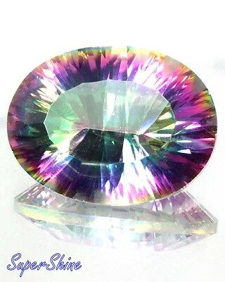 15.85Cts. A++ NATURAL RAINBOW FIRE MYSTIC TOPAZ OVAL CONCAVE CUT LOOSE GEMSTONE