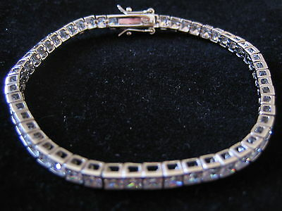 925 Sterling Silver Tennis Bracelet with CZ Stones NO RESERVE