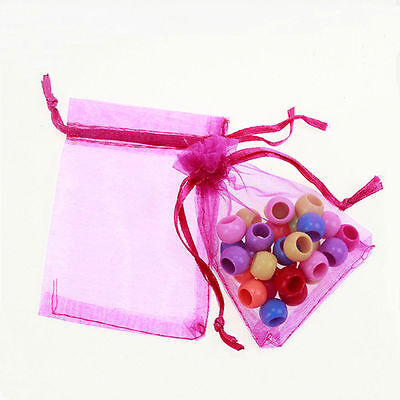 25Pcs Organza Wedding Party Favor Gift Candy Bag Packing 7X9cm(Rose Red)