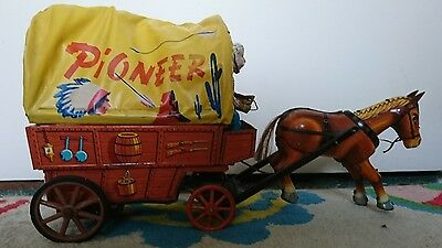 Vintage (1960s) Battery Tinplate Pioneer Wagon & Horse Icheda Toys **Very Rare**