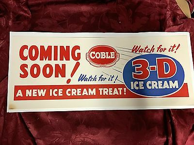 Vintage Original Coble Dairy 3-D Ice Cream Sign - Cool Story