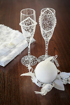 Hand Painted White Pearls Champagne Wedding Glasses