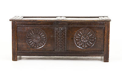 B630 Antique Scottish 18th Century Jacobean Carved Oak Coffer, BlanketBox, Chest