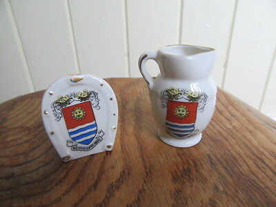 Crested China Weston Supermare Horse Shoe And Jug
