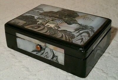 Vintage Japanese Dark Wood Trinket Box With Intricate Engraved Mother Of Pearl