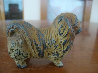 Good Antique Cold Painted Bronze Dog Figurine. ~ Pekinese