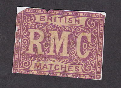 AE Old  Matchbox label  England   LLL4 RMC