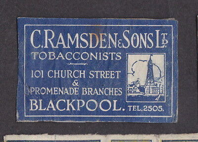 AE Old  Matchbox label   England   LLL11 Ramsden