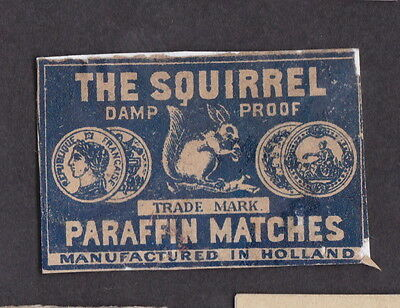 AE Old  Matchbox label   Holland   LLL21 The Squirrel