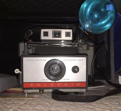 VINTAGE Polaroid 220 Land Camera with case, flash, cold clips, film