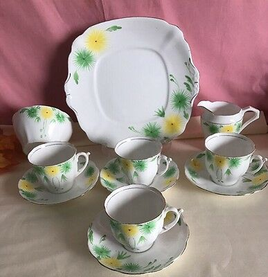 BELL CHINA MADE IN ENGLAND 4 CUPS SAUCERS MILK JUG Sugar Bowl Cake Plate Vgc