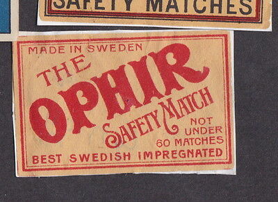 AE Old  Matchbox label  Sweden   LLL25 The Ophir Average 60