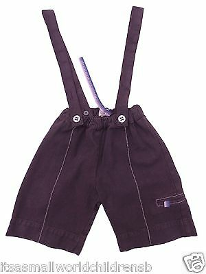 baby boys cropped TROUSERS w/ shoulder straps 9M COUDEMAIL France (eu 74) BNWT