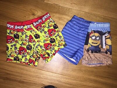 Boys Angry Birds & Despicable ME Swim Shorts Age 6 To 7