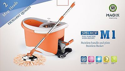 Stainless Steel Magix Spin Floor Mop and Bucket Set 2 Free Microfiber Heads HQ