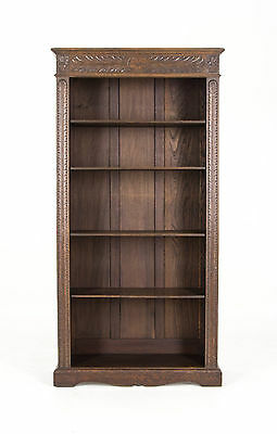 B452 Antique Scottish Victorian Tall, Heavily Carved Oak Bookcase, Bookshelf
