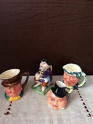 VINTAGE Job lot 5 X BURLINGTON etc HAND PAINTED CHARACTER / TOBY JUGS