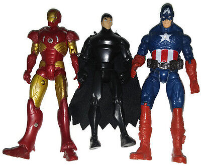"Lot 2 Avengers Action Fuguries IronMan CaptainAmerica+GeneralZod 7"" SuperHeroes"