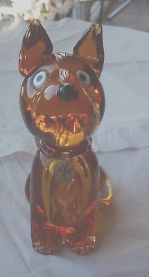 "1960,s MALTESE AMBER GLASS DOG 5 1/2""high"