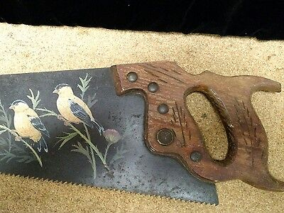 Vintage Hand painted Superior 26 Saw with Goldfinch and thistles