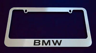 BMW-chrome METAL-license-plate-frame-with-black-text