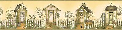 Outhouses on Golden Yellow & Olive Green Easy Walls Wallpaper Border SM05081B