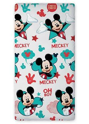 Disney MICKEY MOUSE OH BOY SINGLE FITTED SHEET 90cm x 200cm 100% COTTON.