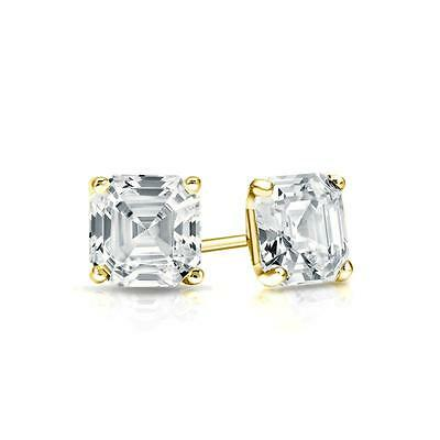 1.50 Ct Asscher Cut Earrings Studs Real Solid 14K Yellow Gold Martini Screw Back