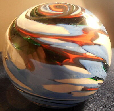 WEDGWOOD GLASS CIRCULAR SPINDRIFT PAPERWEIGHT, With Metallic Label