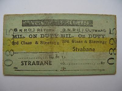 MILITARY on DUTY Ticket Great Northern Railway Ireland GNR I Strabane