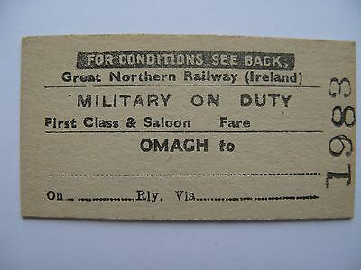 MILITARY on DUTY Ticket Great Northern Railway Ireland GNR I Omagh (2)