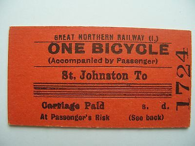 BICYCLE Ticket Great Northern Railway Ireland GNR I  St. Johnston